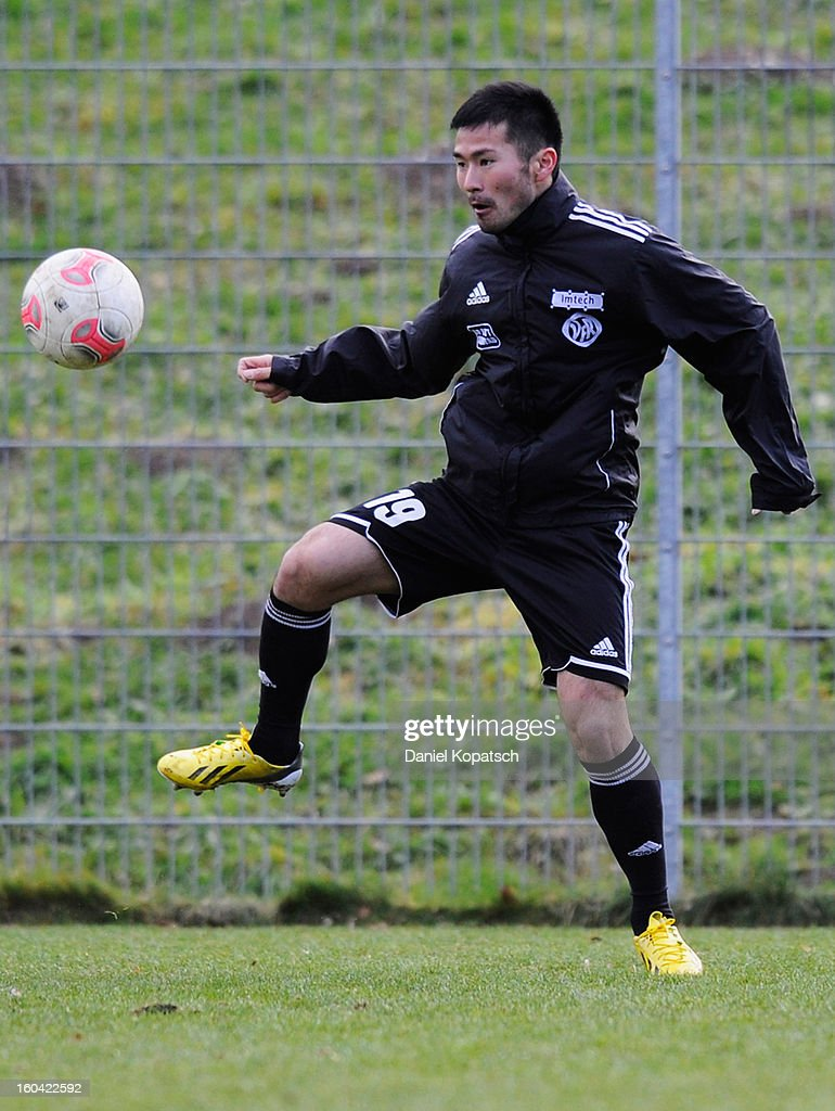 Takuma Abe controls the ball during the training session of VfR Aalen on January 31, 2013 in Aalen, Germany.