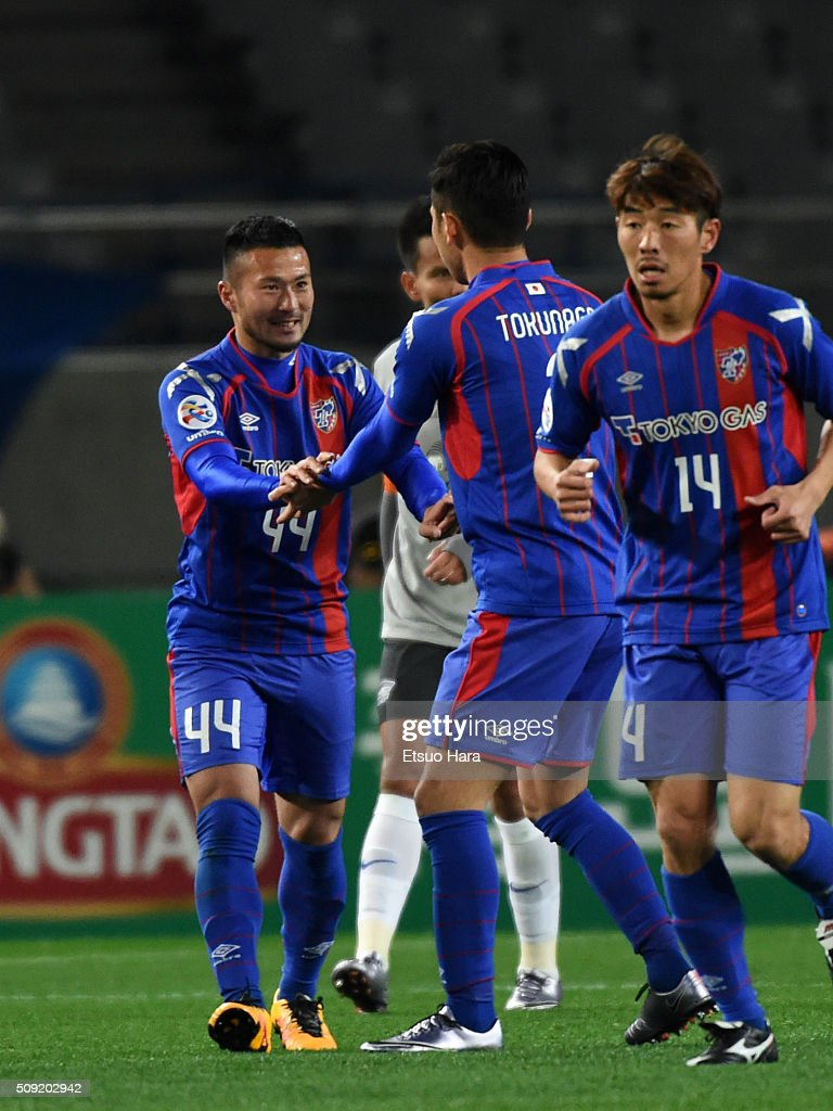 Takuma Abe of FC Tokyo#44 celebrates scoring his team's second goal during the AFC Champions League playoff round match between FC Tokyo and Chonburi FC at the Tokyo Stadium on February 9, 2016 in Chofu, Japan.