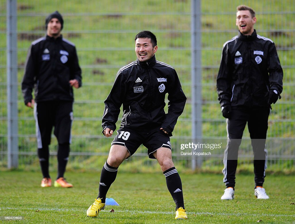 Takuma Abe (C) reacts during the training session of VfR Aalen on January 31, 2013 in Aalen, Germany.