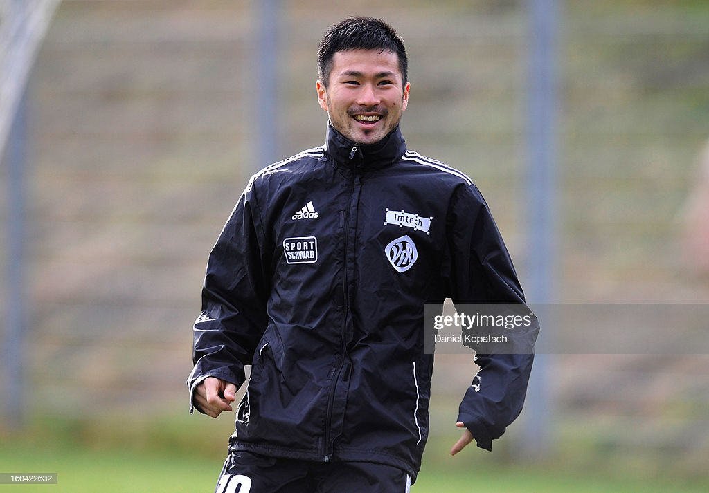 Takuma Abe reacts during the training session of VfR Aalen on January 31, 2013 in Aalen, Germany.