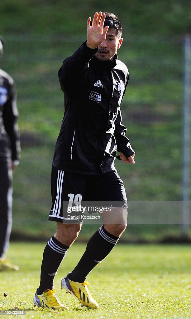 Takuma Abe reatcs during the training session of VfR Aalen on January 31, 2013 in Aalen, Germany.