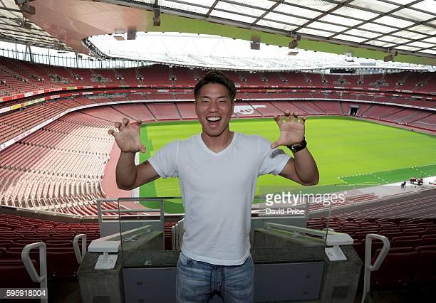 Takuma Asano of Arsenal has a tour of Emirates Stadium on July 21 2016 in London England