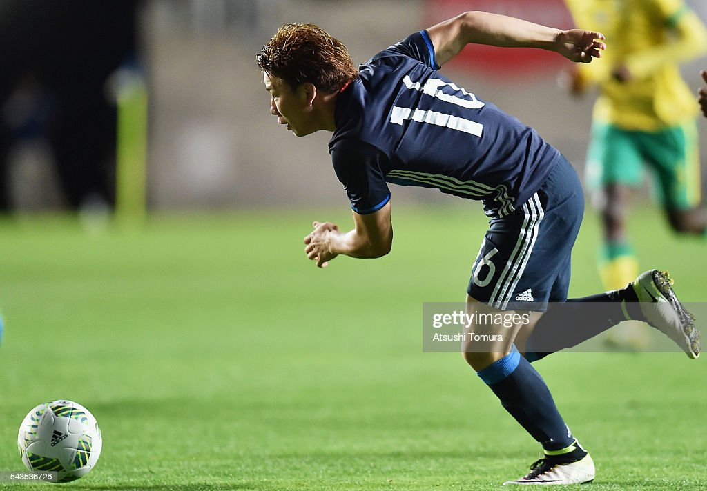 <a gi-track='captionPersonalityLinkClicked' href=/galleries/search?phrase=Takuma+Asano&family=editorial&specificpeople=8776680 ng-click='$event.stopPropagation()'>Takuma Asano</a> of Japan in action during the U-23 international friendly match between Japan and South Africa at the Matsumotodaira Football Stadium on June 29, 2016 in Matsumoto, Nagano, Japan.