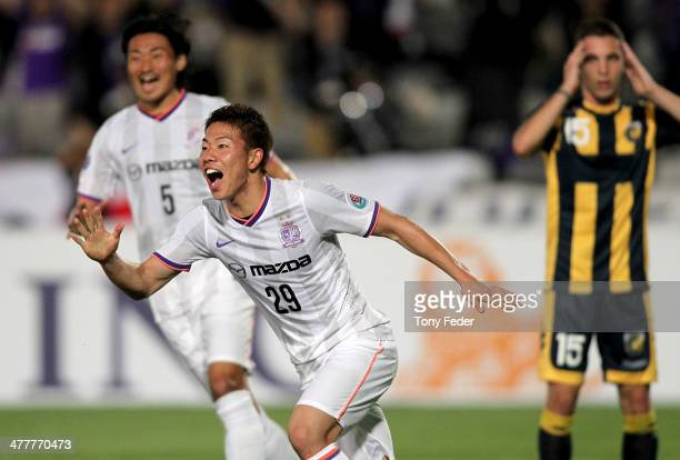 Takuma Asano of Sanfrecce Hiroshima celebrates a goal during the AFC Asian Champions League match between the Central Coast Mariners and Sanfrecce...