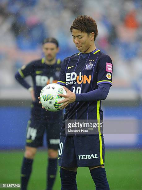 Takuma Asano of Sanfrecce Hiroshima looks on before the second goal by Penalty kick during the FUJI XEROX SUPER CUP 2016 match between Sanfrecce...