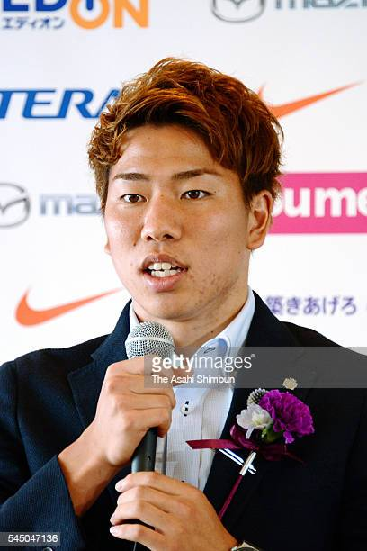 Takuma Asano of Sanfrecce Hiroshima speaks during a press conference announcing his move to Arsenal on July 4 2016 in Hiroshima Japan