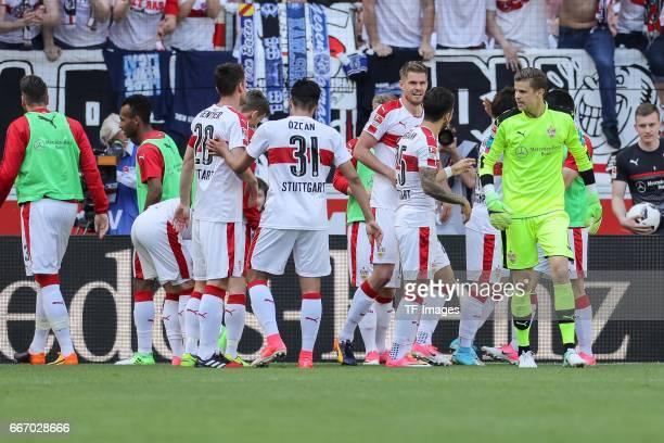 Takuma Asano of Stuttgart celebrates his team's second goal with team mates during the Second Bundesliga match between VfB Stuttgart and Karlsruher...