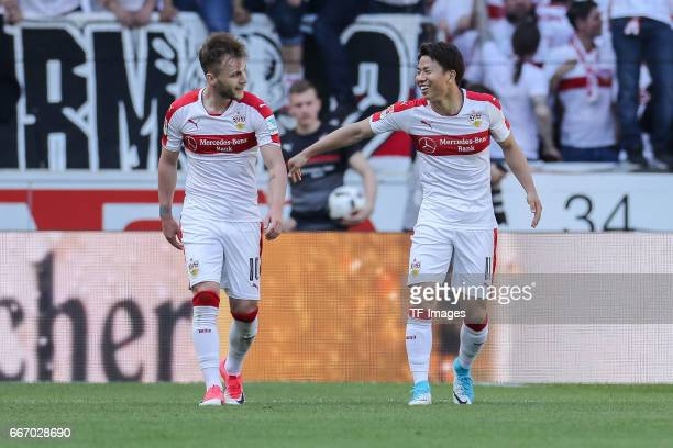 Takuma Asano of Stuttgart celebrates his team's second goal with team mates during the Second Bundesliga match between VfB Stuttgart and Karlsruher...