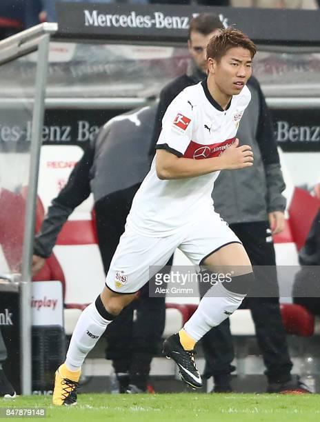 Takuma Asano of Stuttgart comes on as a substitute during the Bundesliga match between VfB Stuttgart and VfL Wolfsburg at MercedesBenz Arena on...