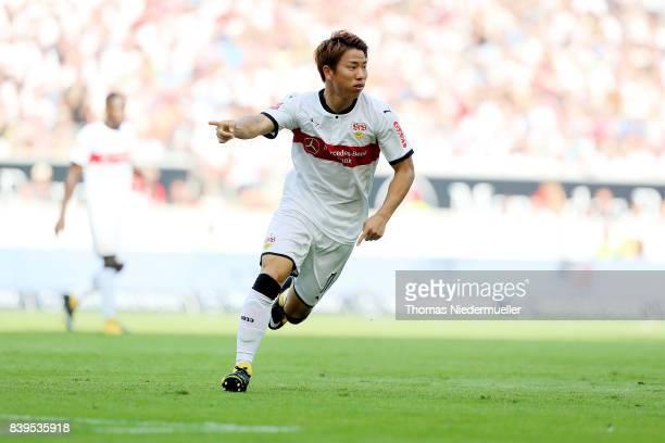 Takuma Asano of Stuttgart gestures during the Bundesliga match between VfB Stuttgart and 1 FSV Mainz 05 at MercedesBenz Arena on August 26 2017 in...