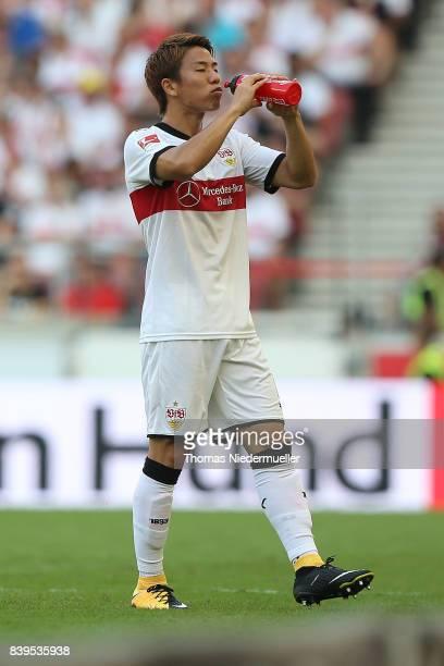 Takuma Asano of Stuttgart is seen during the Bundesliga match between VfB Stuttgart and 1 FSV Mainz 05 at MercedesBenz Arena on August 26 2017 in...