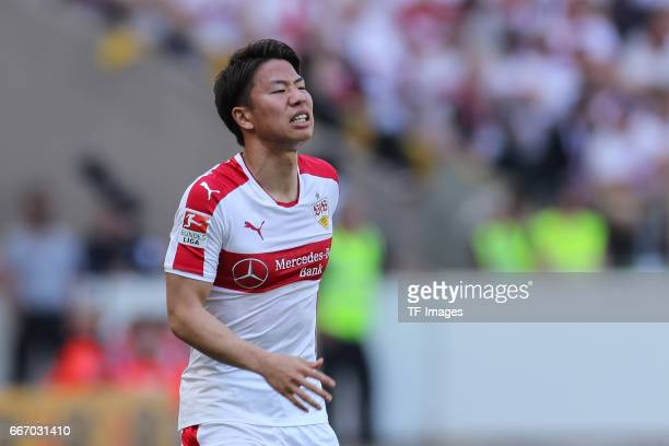 Takuma Asano of Stuttgart looks on during the Second Bundesliga match between VfB Stuttgart and Karlsruher SC at MercedesBenz Arena on April 9 2017...