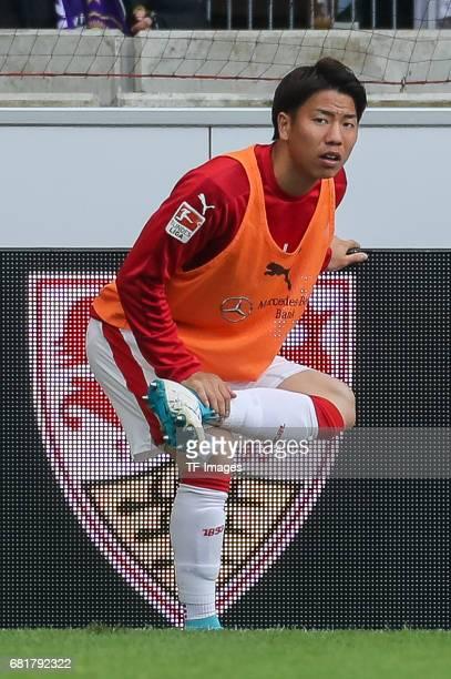 Takuma Asano of Stuttgart looks on during the Second Bundesliga match between VfB Stuttgart and FC Erzgebirge Aue at MercedesBenz Arena on May 7 2017...