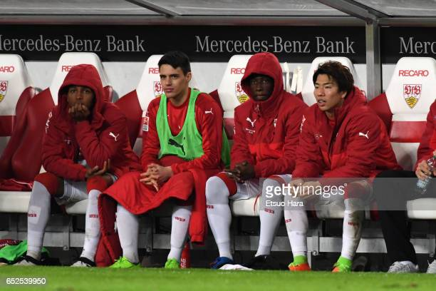 Takuma Asano of Stuttgart looks on in the bench during the Second Bundesliga match between VfB Stuttgart and VfL Bochum at MercedesBenz Arena on...