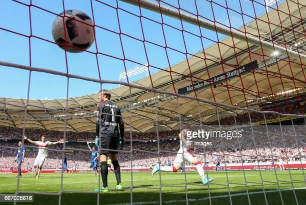 Takuma Asano of Stuttgart scores a goal during the Second Bundesliga match between VfB Stuttgart and Karlsruher SC at MercedesBenz Arena on April 9...