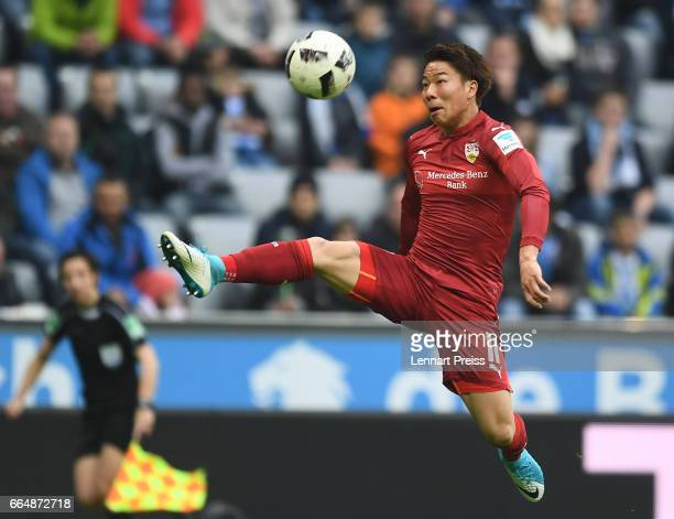 Takuma Asano of VfB Stuttgart in action during the Second Bundesliga match between TSV 1860 Muenchen and VfB Stuttgart at Allianz Arena on April 5...