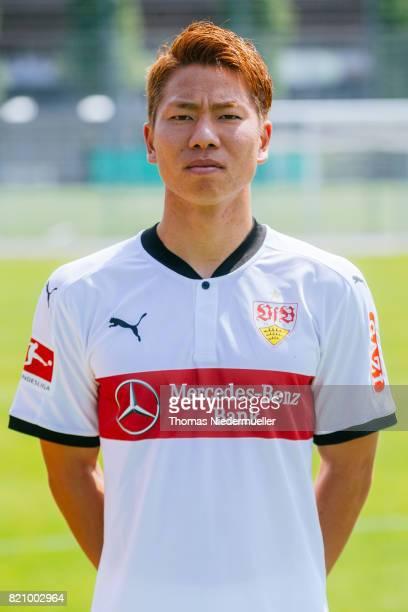 Takuma Asano of VfB Stuttgart poses during the VfB Stuttgart team presentation at training ground on July 21 2017 in Stuttgart Germany