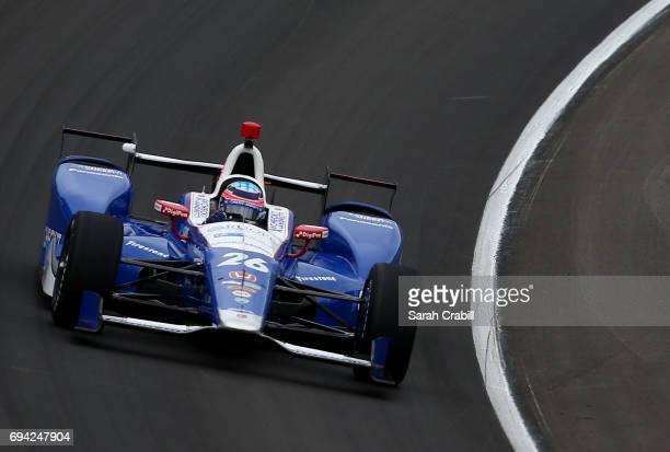 Takuma Sato driver of the Andretti Autosport Honda practices for the Verizon IndyCar Series Rainguard Water Sealers 600 at Texas Motor Speedway on...
