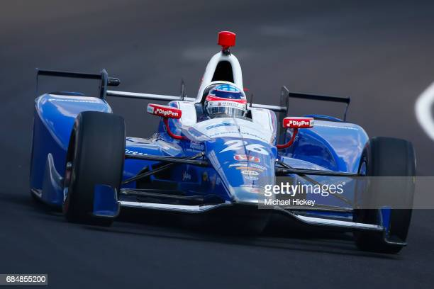 Takuma Sato is seen during practice for the Indianapolis 500 at Indianapolis Motor Speedway on May 18 2017 in Indianapolis In