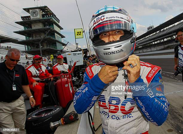Takuma Sato of Japan driver of the A J Foyt Enterprises Dallara Honda is seen during practice at the Indianapolis Motor Speedway on May 11 2014 in...