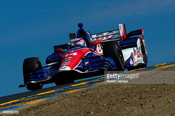 Takuma Sato of Japan driver of the A J Foyt Enterprises Honda Dallara during practice for the Verizon IndyCar Series GoPro Grand Prix of Sonoma at...