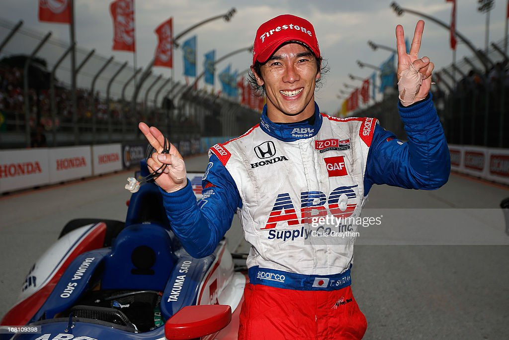 <a gi-track='captionPersonalityLinkClicked' href=/galleries/search?phrase=Takuma+Sato&family=editorial&specificpeople=203006 ng-click='$event.stopPropagation()'>Takuma Sato</a> of Japan driver of the #14 ABC Supply A. J. Foyt Racing Dallara Honda celebrates after finishing second during the IZOD IndyCar series Sao Paulo Indy 300 at Anhembi Sambadrome on May 5, 2013 in Sao Paulo, Brazil.