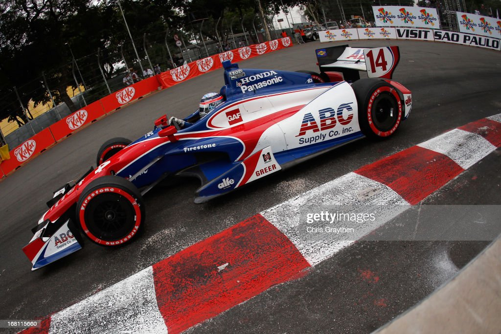 <a gi-track='captionPersonalityLinkClicked' href=/galleries/search?phrase=Takuma+Sato&family=editorial&specificpeople=203006 ng-click='$event.stopPropagation()'>Takuma Sato</a> of Japan driver of the #14 ABC Supply A. J. Foyt Racing Dallara Honda drives during the IZOD IndyCar series Sao Paulo Indy 300 at Anhembi Sambadrome on May 5, 2013 in Sao Paulo, Brazil.
