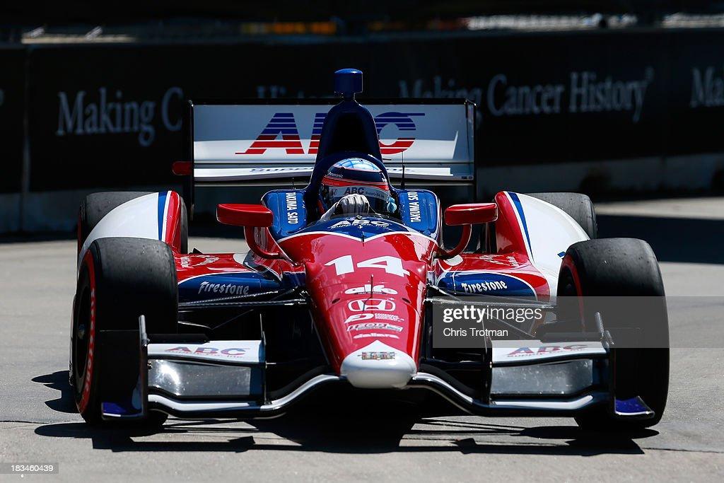 Takuma Sato of Japan, driver of the #14 ABC Supply A. J. Foyt Racing Honda Dallara drives during the IZOD IndyCar Series Shell and Pennzoil Grand Prix Of Houston Race #2 at Reliant Park on October 6, 2013 in Houston, Texas.