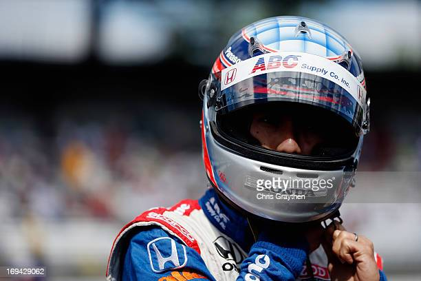 Takuma Sato of Japan driver of the ABC Supply Co/AJ Foyt Racing Dallara Honda prepares to drive during final practice on Carb Day for the 97th...