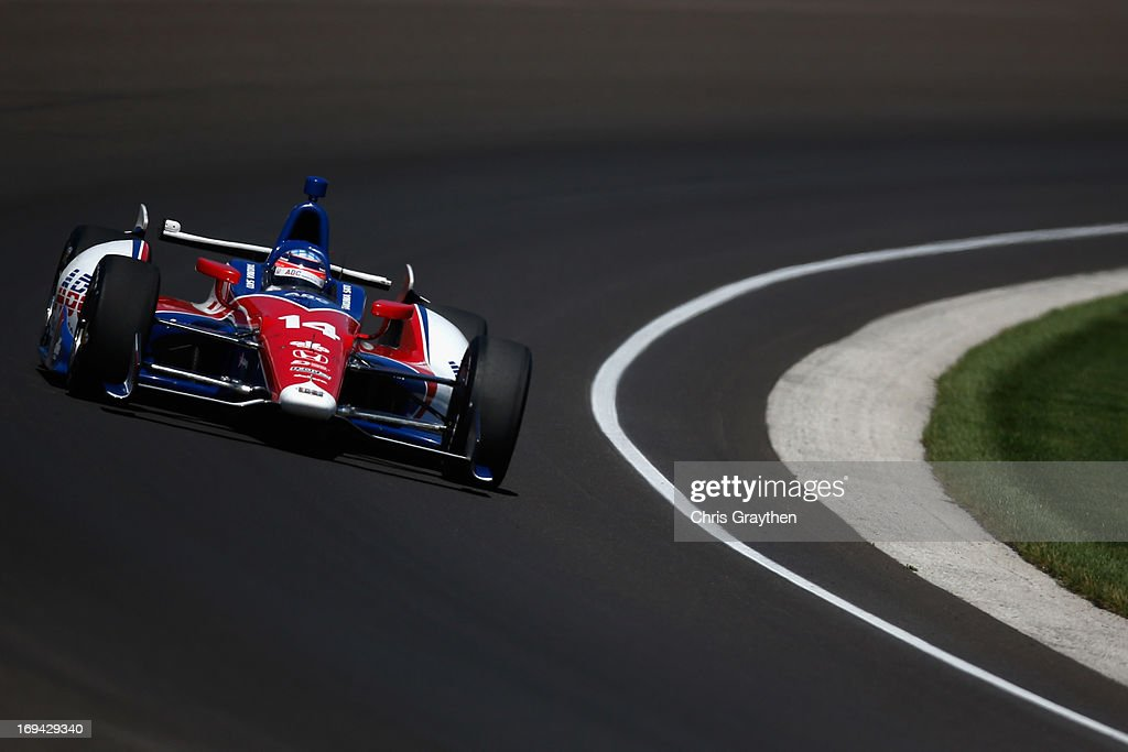 <a gi-track='captionPersonalityLinkClicked' href=/galleries/search?phrase=Takuma+Sato&family=editorial&specificpeople=203006 ng-click='$event.stopPropagation()'>Takuma Sato</a> of Japan, driver of the #14 ABC Supply Co./A.J. Foyt Racing Dallara Honda drives during final practice on Carb Day for the 97th Indianapolis 500 mile race at Indianapolis Motor Speedway on May 24, 2013 in Indianapolis, Indiana.