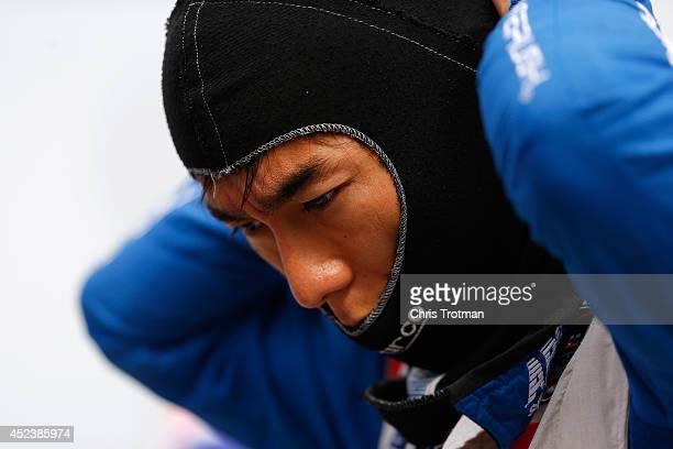 Takuma Sato of Japan driver of the AJ Foyt Enterprises Dallara Honda prepares to qualify for the Verizon IndyCar Series Honda Indy Toronto on the...