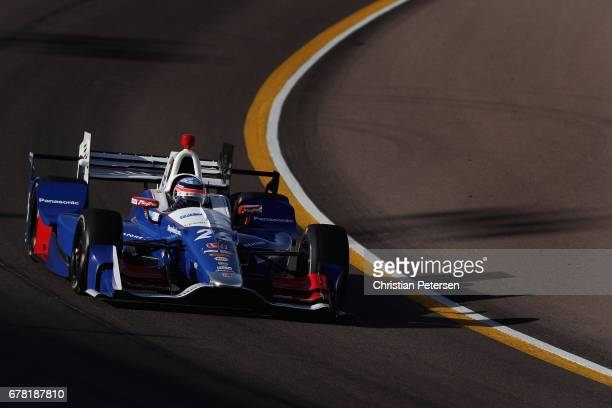Takuma Sato of Japan driver of the Andretti Autosport Honda drives during practice for the Desert Diamond West Valley Phoenix Grand Prix at Phoenix...