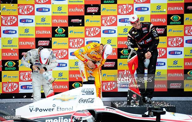Takuma Sato of Japan driver of the #Letterman Laningan Racing Dallara Honda Ryan HunterReay driver of the Andretti Autosport Dallara Chevrolet and...
