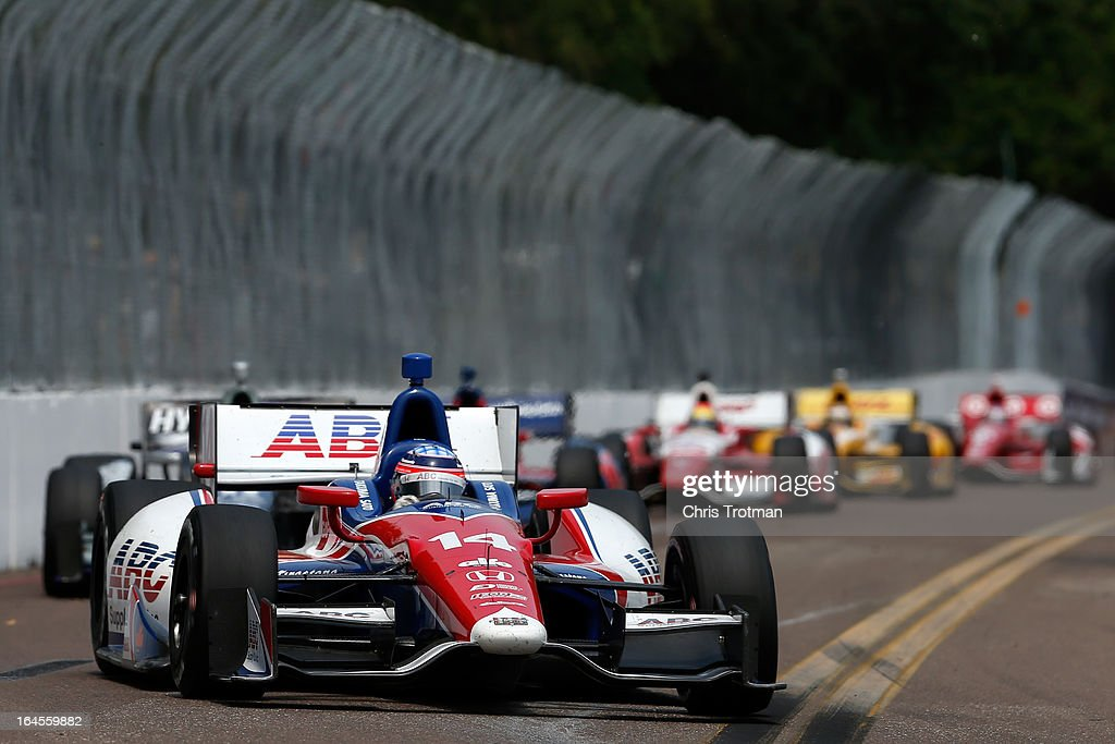 Takuma Sato of Japan, drives the #14 ABC Suppy A.J. Foyt Racing during the IZOD IndyCar Series Honda Grand Prix of St Petersburg on March 24, 2013 in St Petersburg, Florida.