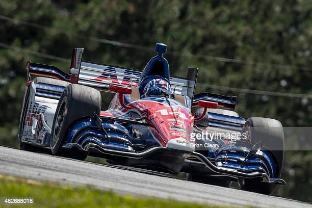Takuma Sato of Japan drives the Honda IndyCar during qualifying for the Honda Indy 200 at MidOhio Sports Car Course on August 1 2015 in Lexington...