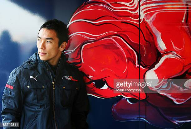 Takuma Sato of Japan in the Toro Rosso garage during day three of Formula One Testing at the Circuit de Catalunya on November 19 2008 in Barcelona...