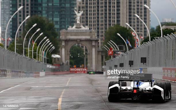 Takuma Sato Rahal Letterman Lanigan Racing Honda Dallara during practice for the IZOD INDYCAR Series Honda Indy Toronto on July 7 2012 in Toronto...