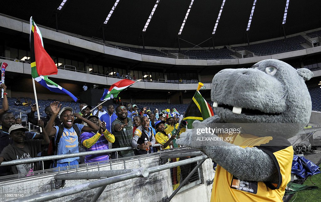 'Takuma' the mascot of the Africa Cup of Nations 2013 (CAN) gestures before a friendly football match between South Africa's Bafana Bafana and Algeria in Soweto on January 12 , 2013, ahead of the 2013 African Cup of Nations that will take place in South Africa from January 19 to February 10.