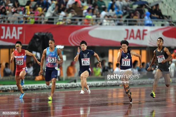 Takumi Kuki Aska Cambridge Yoshihide Kiryu Syuhei Tada and Abdul Hakim Sani Brown of Japan compete in the Men 100m final during the 101st Japan...