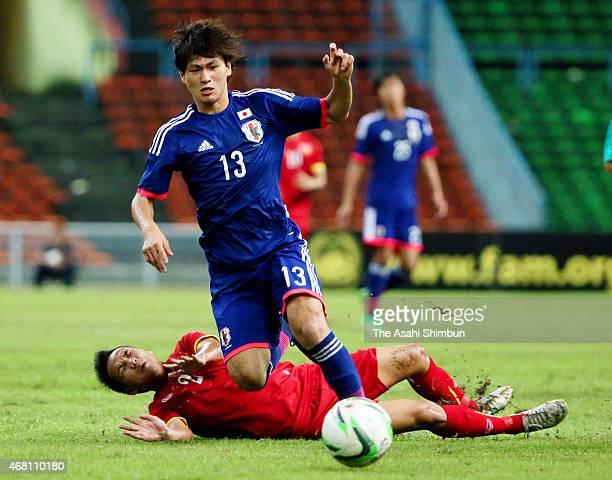 Takumi Minamino of Japan in action during the AFC U23 Championship qualifier Group I match between Vietnam and Japan at Shah Alam Stadium on March 29...