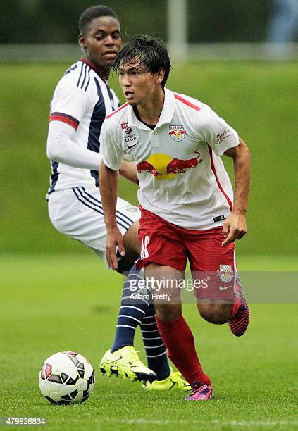 Takumi Minamino of Red Bull in action during the friendly match between Red Bull Salzburg and West Brom on July 8 2015 in Schladming Austria