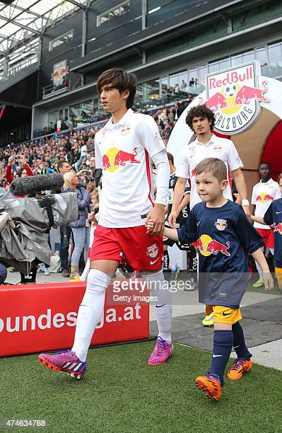 Takumi Minamino of Salzburg enters the pitch during the tipico Bundesliga match between RB Salzburg and Wolfsberger AC at Red Bull Arena on May 24...