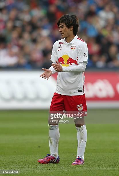 Takumi Minamino of Salzburg reacts during the tipico Bundesliga match between RB Salzburg and Wolfsberger AC at Red Bull Arena on May 24 2015 in...