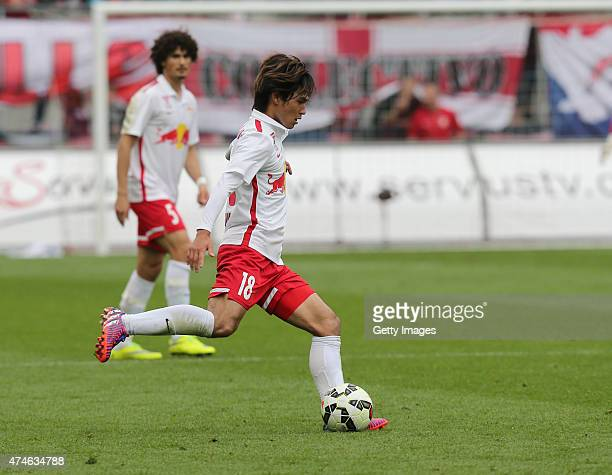 Takumi Minamino of Salzburg runs with the ball during the tipico Bundesliga match between RB Salzburg and Wolfsberger AC at Red Bull Arena on May 24...
