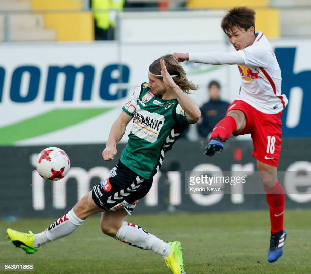 Takumi Minamino of Salzburg scores the first goal of his hattrick in the first half of their 61 win away to Ried in the Austrian Bundesliga on Feb 19...