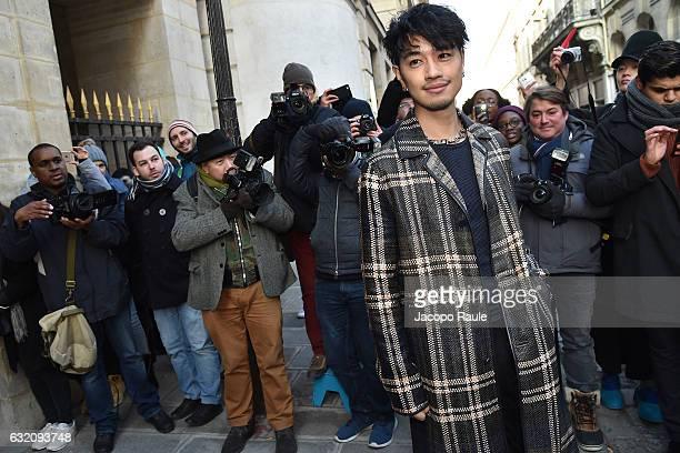 Takumi Saito is seen arriving at Louis Vuitton Fashion Show during Paris Fashion Week Menswear Fall/Winter 2017/2018 on January 19 2017 in Paris...