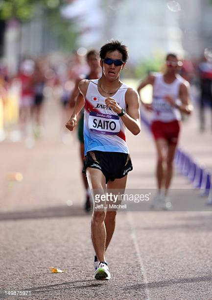 Takumi Saito of Japan competes in the Men's 20km Race Walk Athletics on Day 8 of the London 2012 Olympic Games on August 4 2012 in London England