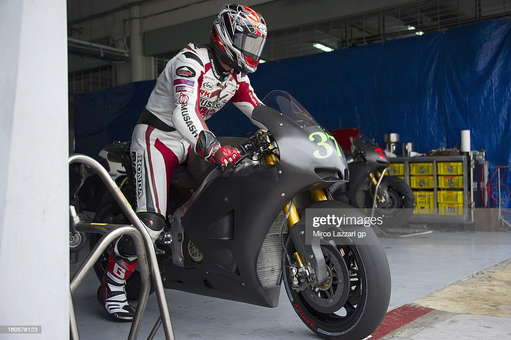 Takumi Takahashi of Japan and HRC test rider starts from box during day one of CRT Tests for the MotoGP at Sepang Circuit on February 3, 2013 in Kuala Lumpur, Malaysia.