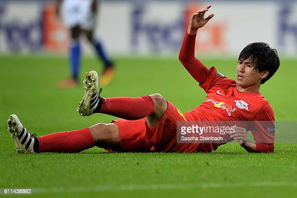 Takumo Minamino of Salzburg reacts during the UEFA Europa League match between FC Schalke 04 and FC Salzburg at VeltinsArena on September 29 2016 in...