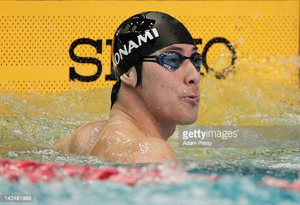 Takuro Fujii of Japan in action in the mens 100m freestyle semi final during day four of the Japan Swim 2012 at Tatsumi International Swimming Pool...